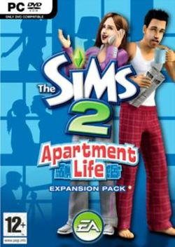 Box artwork for The Sims 2: Apartment Life.