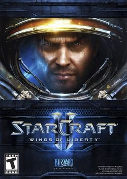 Box artwork for StarCraft II: Wings of Liberty.