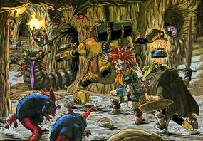 Crono, Robo, and Frog trek through - you guessed it! - a tunnel.