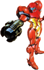 Samus's Missile Launcher ready to fire in Super Metroid