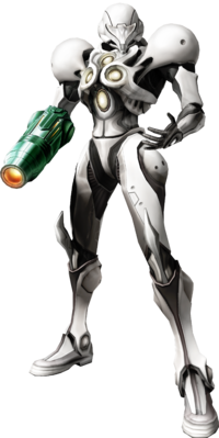 Samus wearing the Light Suit
