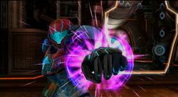 Samus as she acquires the Grapple Voltage.