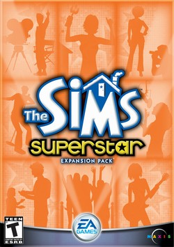 Box artwork for The Sims: Superstar.