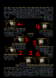 This map shows which door is which. The arrow returns to the main area.