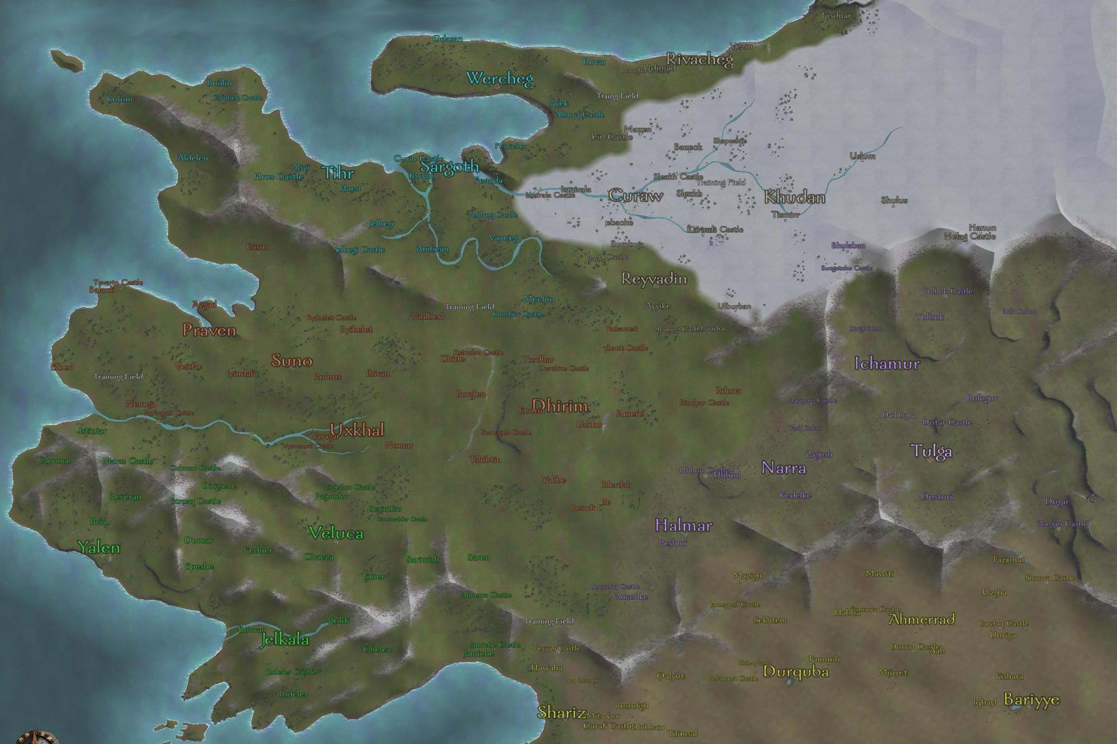 Mountblade warbandmaps strategywiki the video game walkthrough the complete world map view or download the full size version gumiabroncs Choice Image