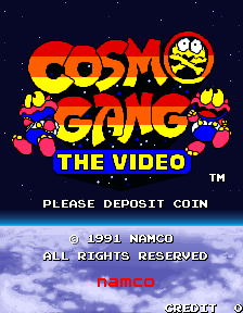 Box artwork for Cosmo Gang: The Video.