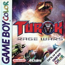 Box artwork for Turok: Rage Wars (GBC).