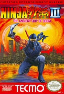 Box artwork for Ninja Gaiden III: The Ancient Ship of Doom.