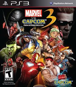 Box artwork for Marvel vs. Capcom 3: Fate of Two Worlds.