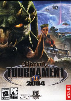 Box artwork for Unreal Tournament 2004.