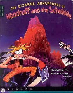 Box artwork for The Bizarre Adventures of Woodruff and the Schnibble.