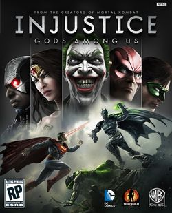 Box artwork for Injustice: Gods Among Us.