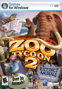 Box artwork for Zoo Tycoon 2: Extinct Animals.