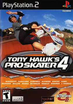 Box artwork for Tony Hawk's Pro Skater 4.