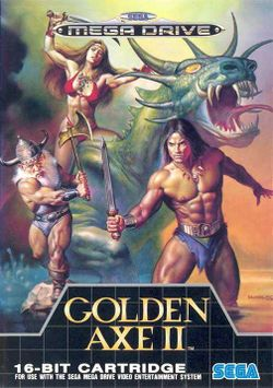 Box artwork for Golden Axe II.