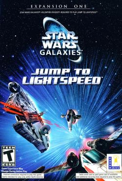 Box artwork for Star Wars Galaxies: Jump to Lightspeed.