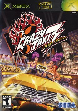 Box artwork for Crazy Taxi 3: High Roller.