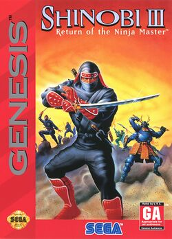 Box artwork for Shinobi III: Return of the Ninja Master.