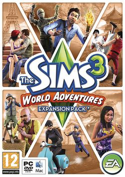 Box artwork for The Sims 3: World Adventures.
