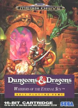 Box artwork for Dungeons & Dragons: Warriors of the Eternal Sun.