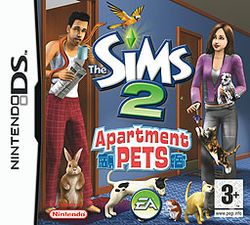 Box artwork for The Sims 2: Apartment Pets.