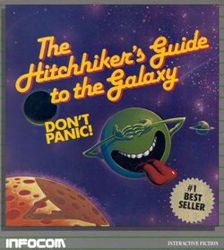 Box artwork for The Hitchhiker's Guide to the Galaxy.