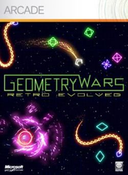 Box artwork for Geometry Wars: Retro Evolved.