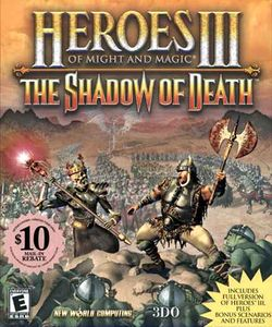 Box artwork for Heroes of Might and Magic III: The Shadow of Death.