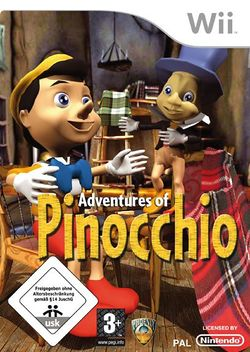 Box artwork for Adventures of Pinocchio.