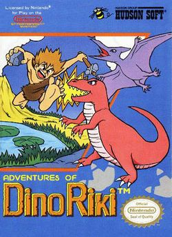 Box artwork for Adventures of Dino Riki.