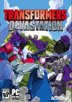 Box artwork for Transformers: Devastation.