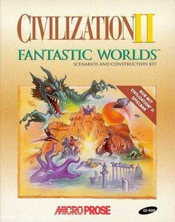 Box artwork for Civilization II: Fantastic Worlds.