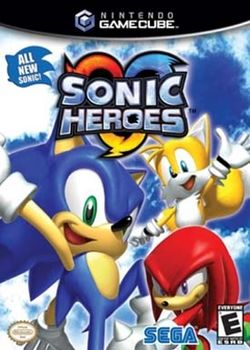 Box artwork for Sonic Heroes.