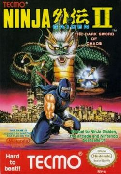 Box artwork for Ninja Gaiden II: The Dark Sword of Chaos.
