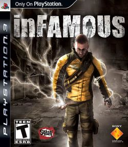 Box artwork for inFAMOUS.