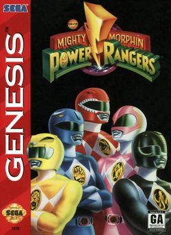 Box artwork for Mighty Morphin Power Rangers.