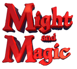 The logo for Might and Magic.