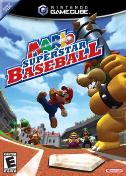 Box artwork for Mario Superstar Baseball.