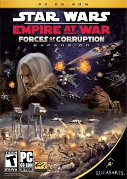 Box artwork for Star Wars: Empire at War: Forces of Corruption.