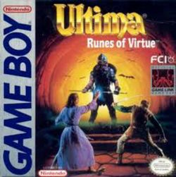 Box artwork for Ultima: Runes of Virtue.
