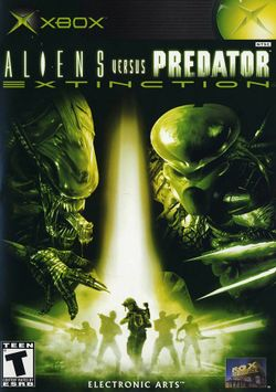 Box artwork for Aliens versus Predator: Extinction.