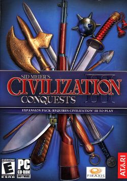 Box artwork for Sid Meier's Civilization III: Conquests.