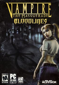 Box artwork for Vampire: The Masquerade - Bloodlines.