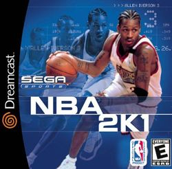 Box artwork for NBA 2K1.