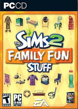 Box artwork for The Sims 2: Family Fun Stuff.