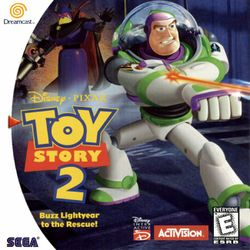 Box artwork for Toy Story 2: Buzz Lightyear to the Rescue!.