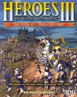 Box artwork for Heroes of Might and Magic III: The Restoration of Erathia.