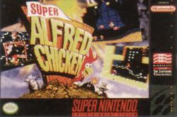 Box artwork for Alfred Chicken.