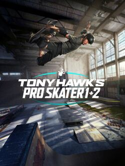 Box artwork for Tony Hawk's Pro Skater 1 + 2.