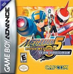 Box artwork for Mega Man Battle Network 5: Double Team Mega Man Battle Network 5: Team Colonel Mega Man Battle Network 5: Team Protoman.